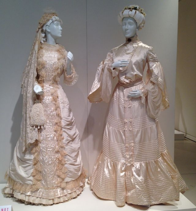 (Left) Bridal Gown Circa 1874 From The Early Bustle Period