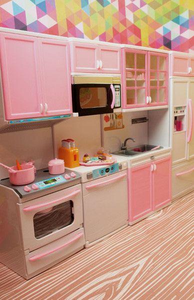 Barbie 4 Piece Vogue Modern Kitchen Set Furniture Playsets For