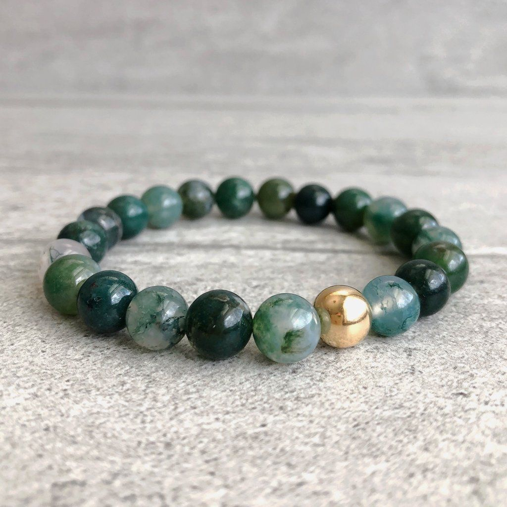 Moss agate bracelet k gold filled bead stretch bracelet