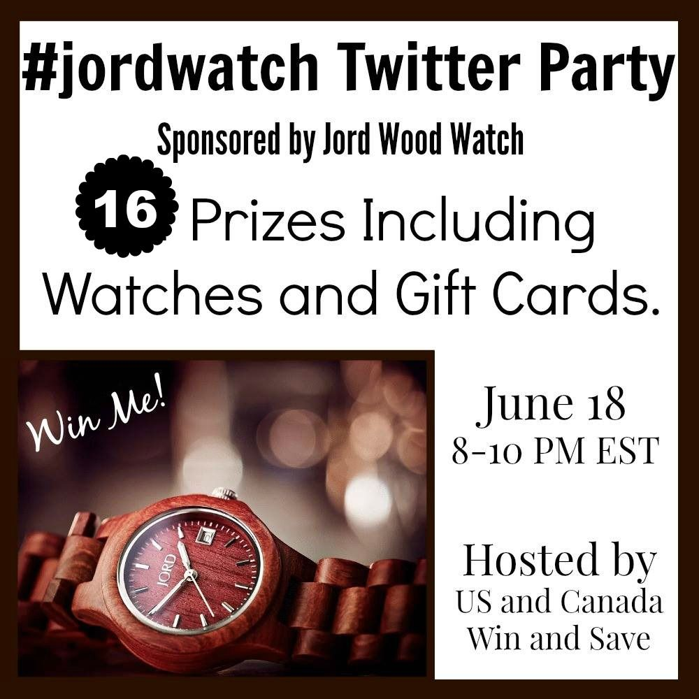 #jordwood Twitter Party   Whats a twitter party without a few hashtags!! And with Father's Day right around the corner don't forget to use these great ones!! #Jordwatch #Fathersday #fathersday2015 Prizes: 3- Free Watches (with free shipping) 2- 120$ gift card 2- 50$ gift cards 3- 20$ gift cards 5- 10$ gift cards A few awesome facts about JORD Wood Watches Make sure you RSVP for your chance to win 1 of those awesome prizes!!! Join us June 18 2015 from 8 pm until 10 pm EST 16 Prizes in total…