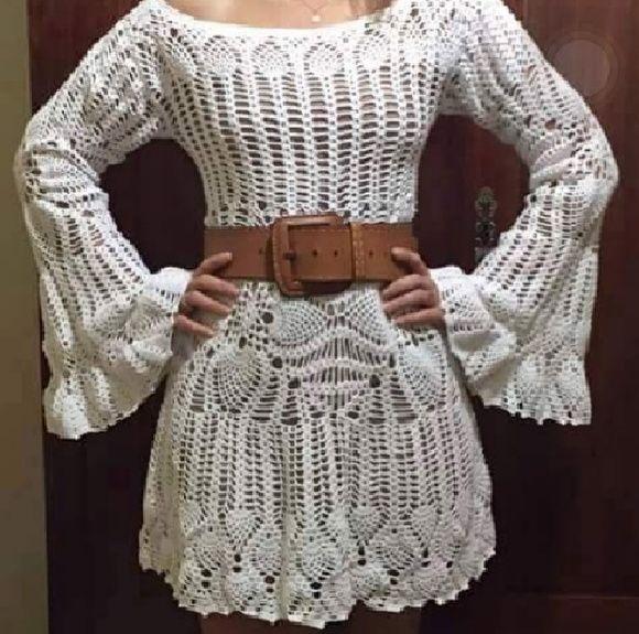 e3666b34a Katia Ribeiro Moda   Decoração Handmade  Vestido em Crochê com Sugestão de  Gráficos