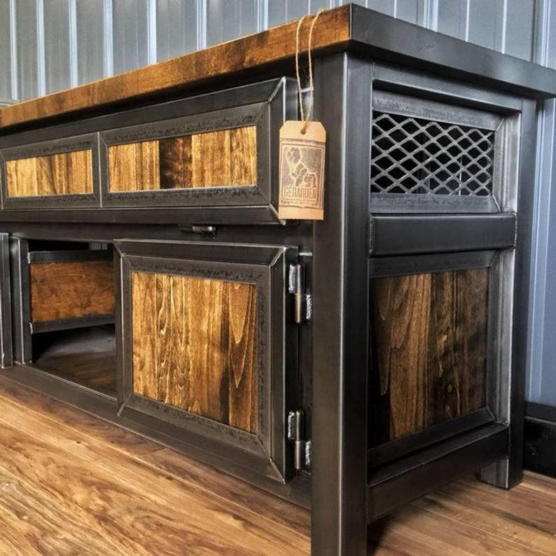 Custom Industrial Media Console, Media Table, TV Stand, Entertainment Center