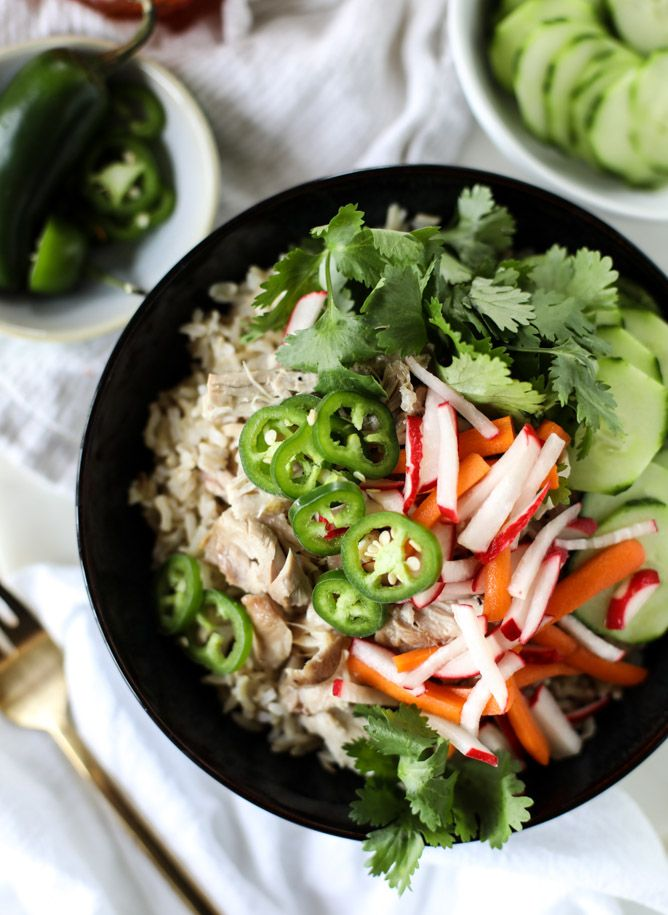 slow cooker banh mi rice bowls #crockpot #instantpot #radishes #cilantro #jalepaleno #cucumber # #gf #pork or #chicken