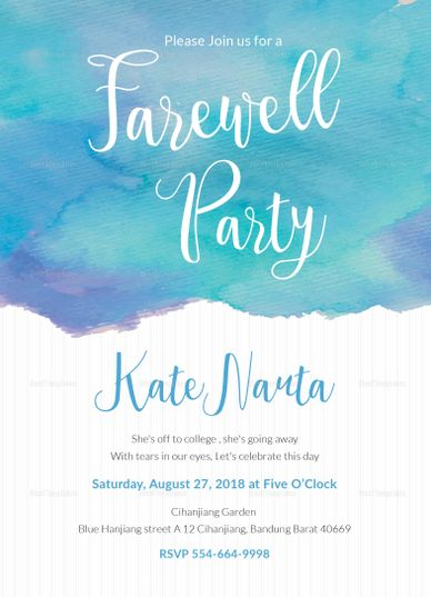 Watercolor Farewell Party Invitation Template Farewell Party