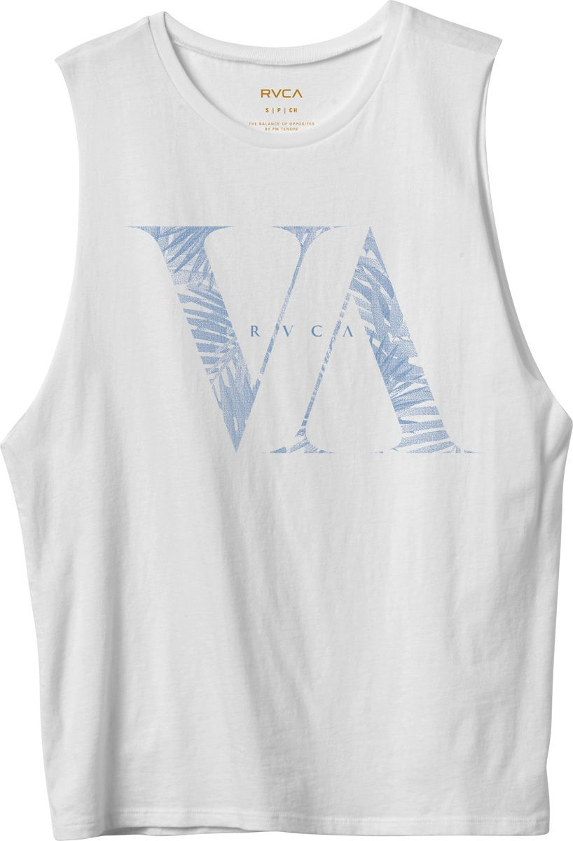 The RVCA Serif Palms is a boyfriend fit, muscle tee with an acid wash.  The tee…