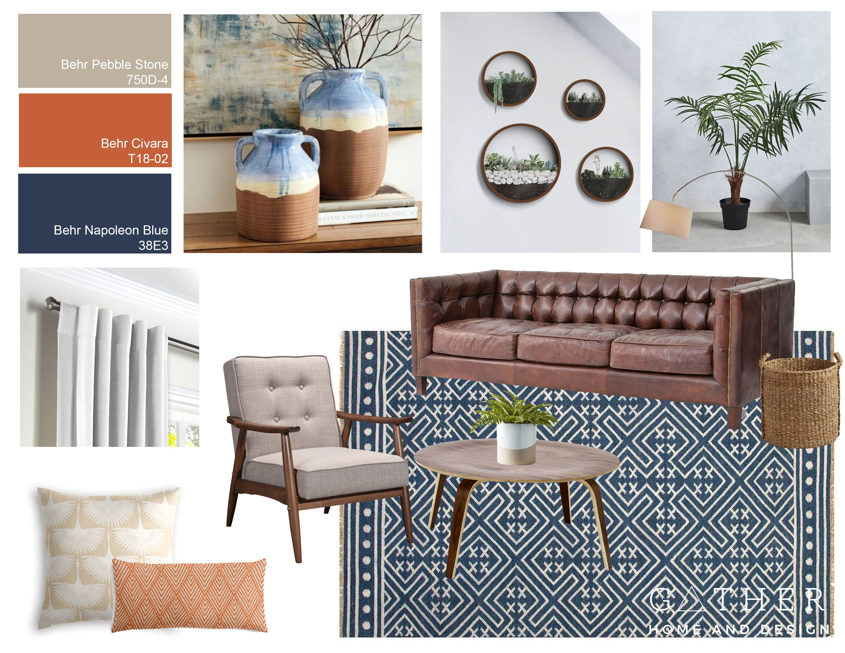 Navy And Terracotta Living Room Design Gather Home And Design Color Palette Living Room Living Room Designs Living Room Color
