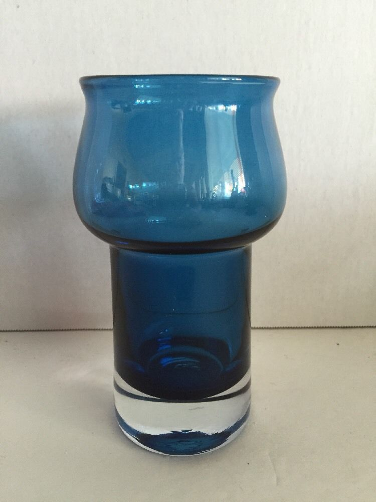 Vtg Small Riihimaki Finland Blue Vase Scandinavian Glass Mid Century