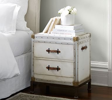 best service 0d3f5 c1473 Ludlow Nightstand, White | SideTables | Nightstand, Leather ...