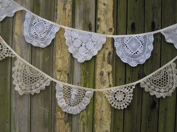 Vintage Doily Bunting. Wedding Bunting. by buntingboutique