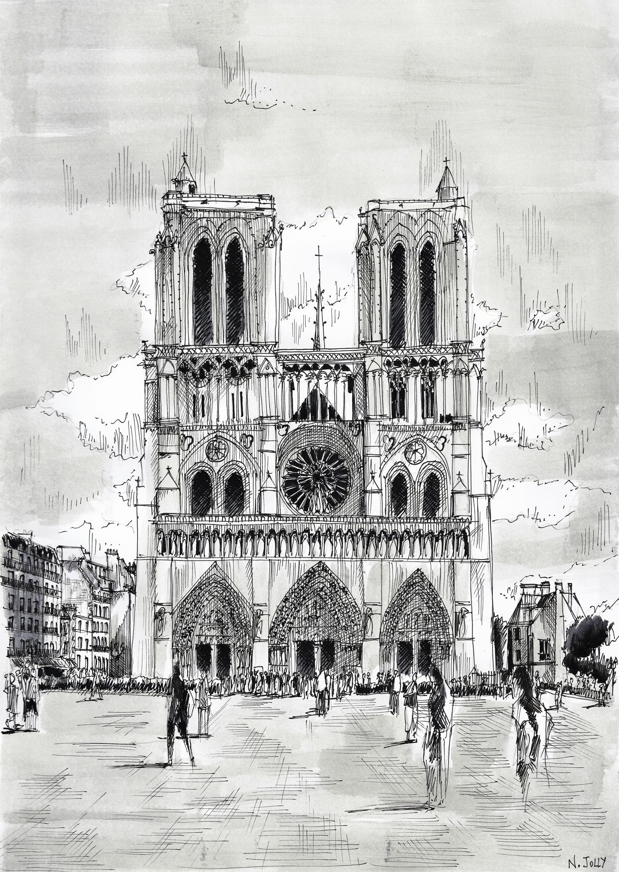 Signed print notre dame paris black ink and for Printing architectural drawings