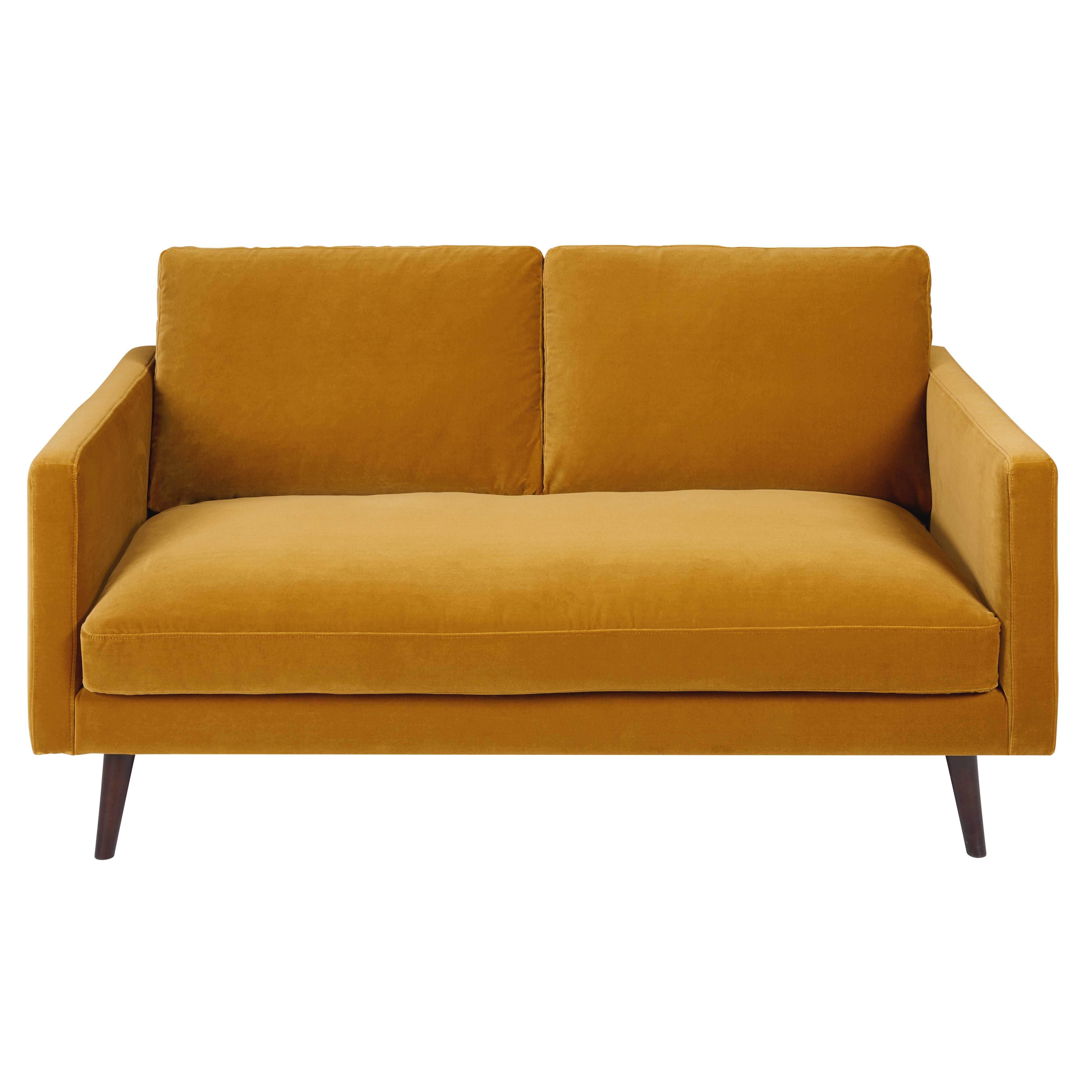 Mustard Yellow 2 Seater Velvet Sofa Kant Fauteuil En Cuir Marron Canape Canape Moutarde