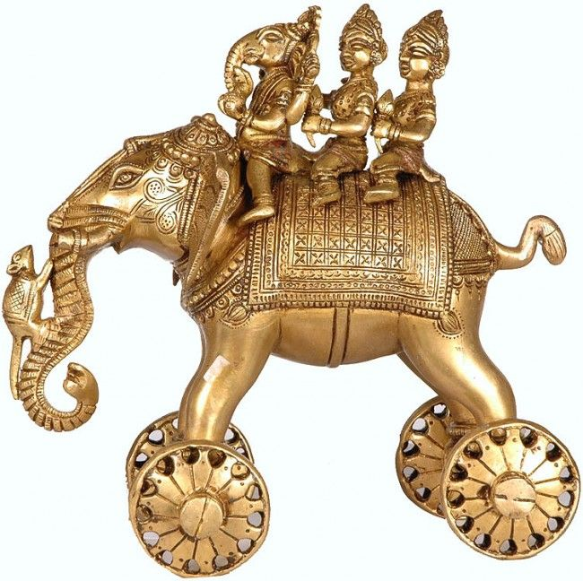 Ganesha riding an elephant with wheels.