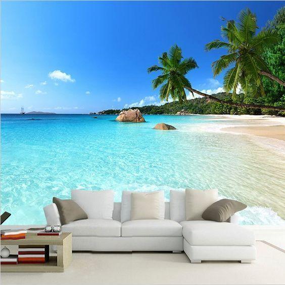 3d Ocean Beach Palm Tree Seascape Photo Wallpaper Mural Inovacao