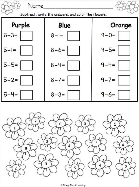spring math subtraction worksheet spring activities math subtraction worksheets math. Black Bedroom Furniture Sets. Home Design Ideas