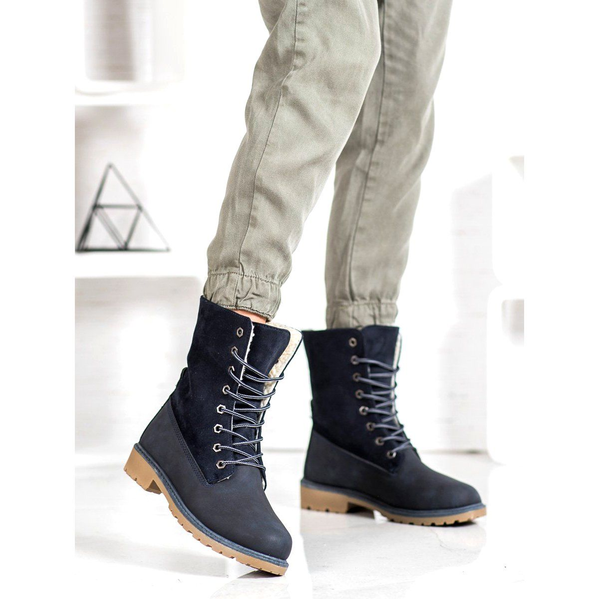 Super Me Sznurowane Botki Niebieskie Black Boots Boots Black Lace Up Boots