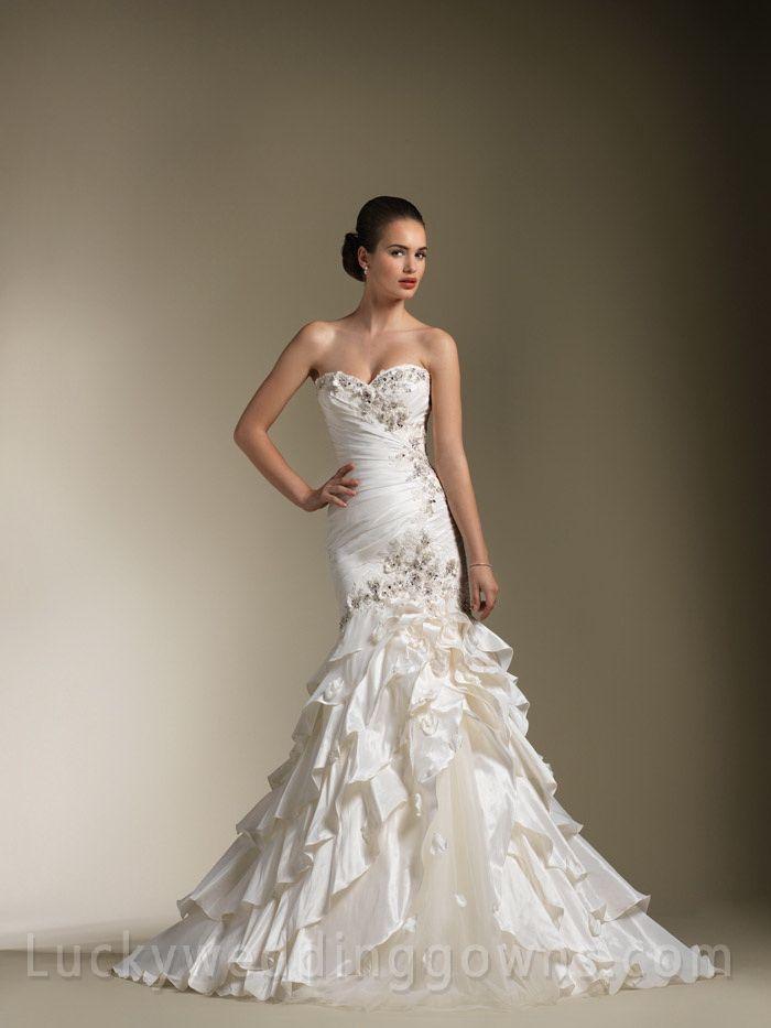 Elegant Sweetheart Wedding Dress with Asymmetrical Layered Mermaid ...