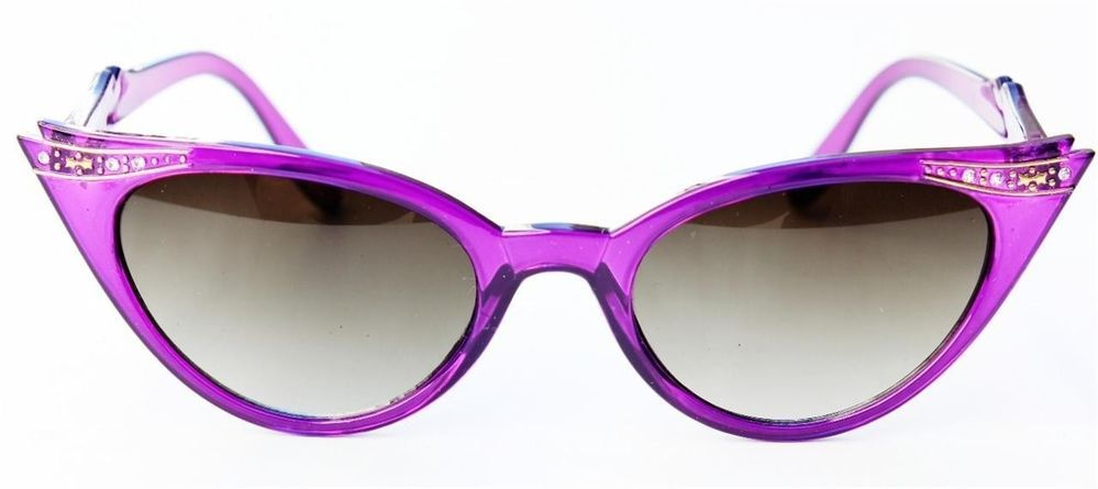 b5235a07a9 50 s Retro Vintage Cat Eye Style Plastic Purple Frame Dark Lens Sunglasses  Women