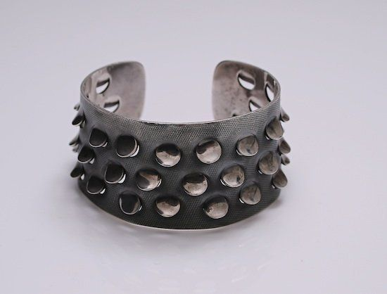 Cuff | Grete Prytz Kittelsen for Tostrup Norway.  Sterling silver with reptile like scales.  c.1960