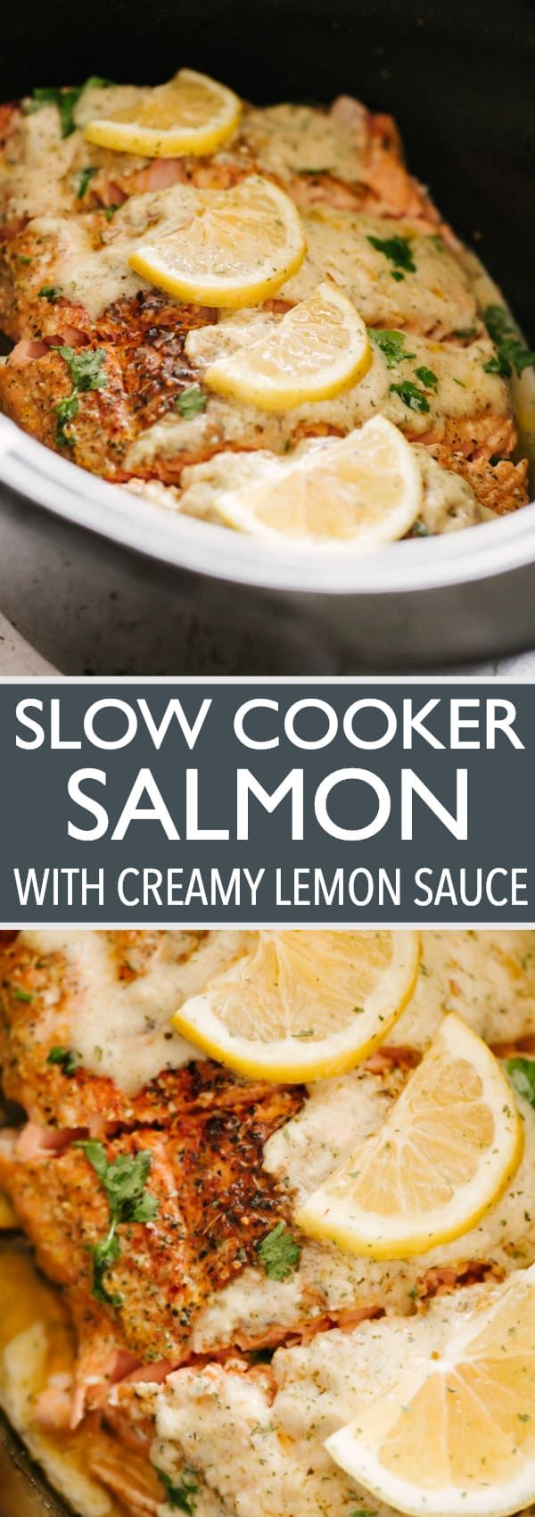 This Slow Cooker Salmon recipe yields tender, flaky fish, topped with a luscious creamy lemon sauce. Easy to put together, super flavorful, and cooked to a juicy perfection right in your slow cooker. #slowcoookersalmon #salmonrecipes #fish #seafood #creamsauce via @diethood #crockpotrecipes