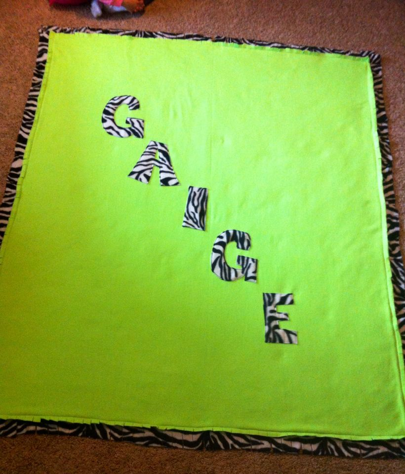 Tcus kooky krafts on fb personalized neon green and zebra fleece