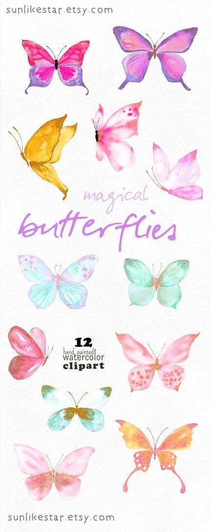 Magical Glitter Butterflies Clipart Watercolor Digital Illustrazioni
