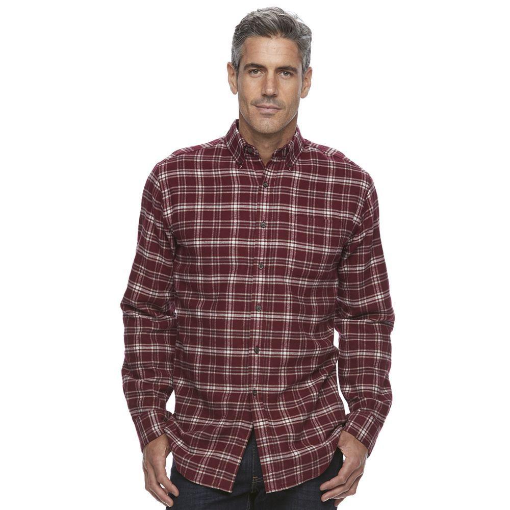 Men's Croft & Barrow® True Comfort Plaid Classic-Fit Flannel Button-Down Shirt, Dark Red