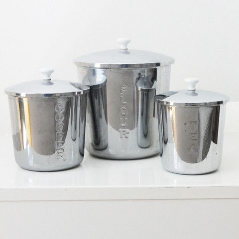 Vintage Stainless Steel Kitchen Canisters