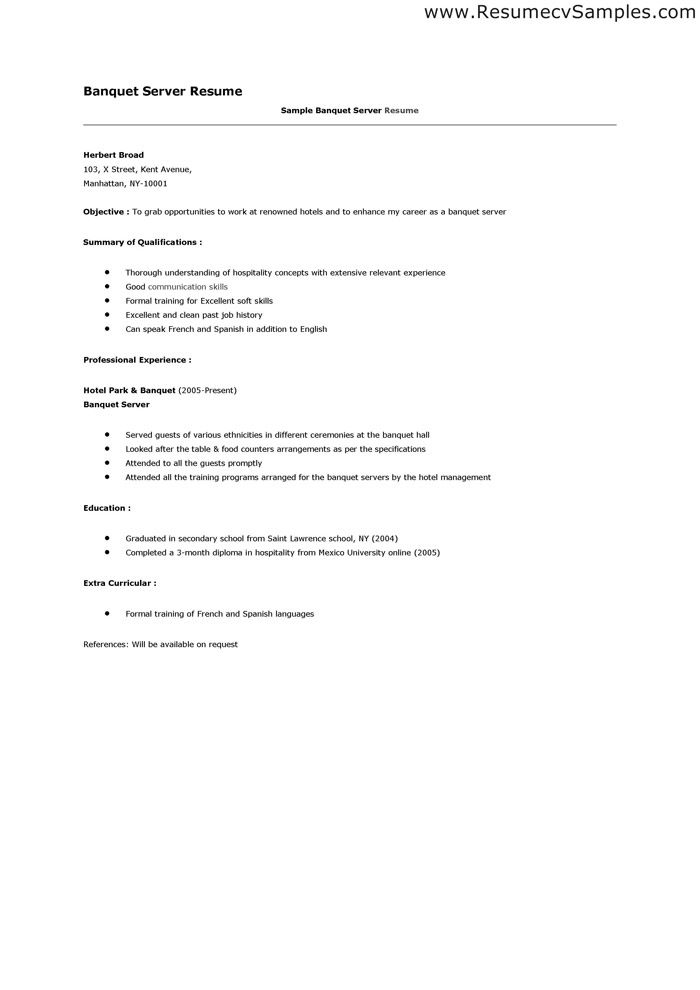 banquet server resume sample cocktail training samples across all - catering server resume sample