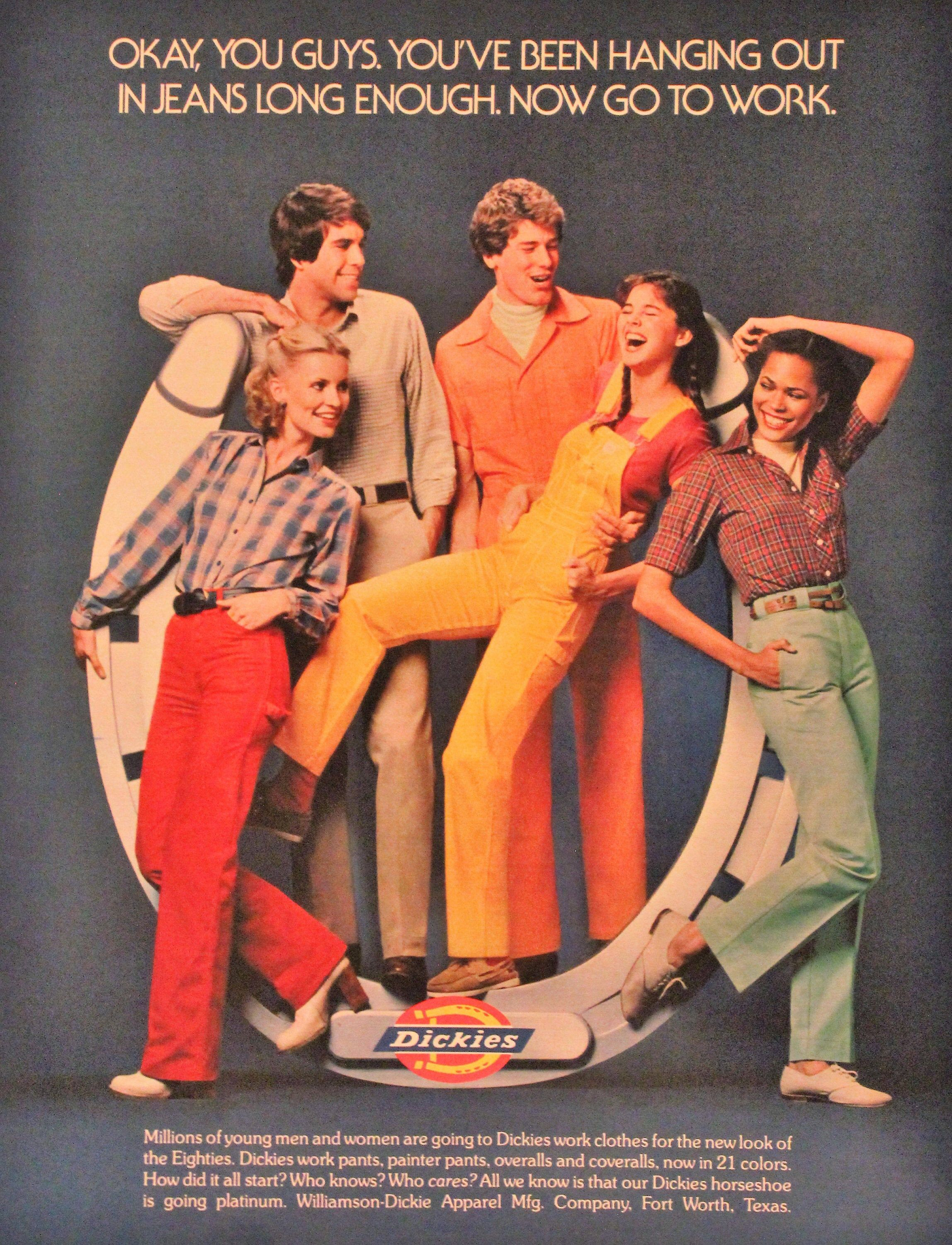 1980 Dickies Work Pants Ad with BRIGHT Colors - Wa