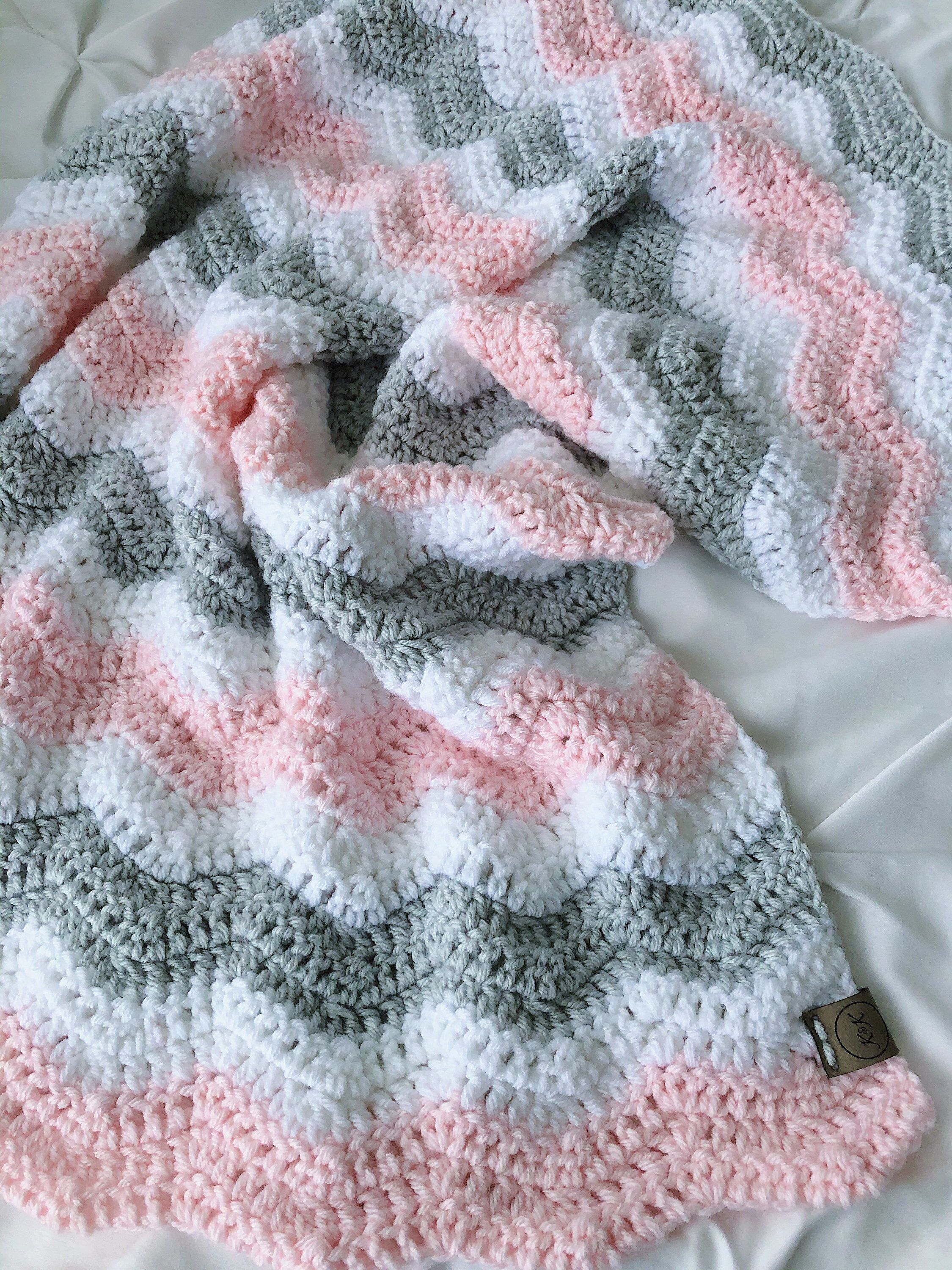 Photo of Crochet baby blanket – pink and gray Crochet baby blanket, pink, white and gray afghan, baby pink,  blanket, baby girl nursery decor, shower