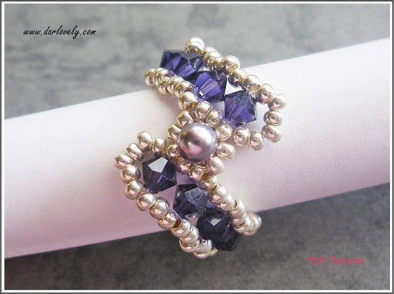 Beaded Ring Tutorial Pattern   Purple S Ring RG181  door darlovely