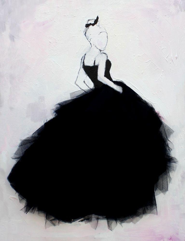 Olja på duk med påsydd tyll i kjolen.Storlek 80x60 cm./ Lisa W Breitholtz