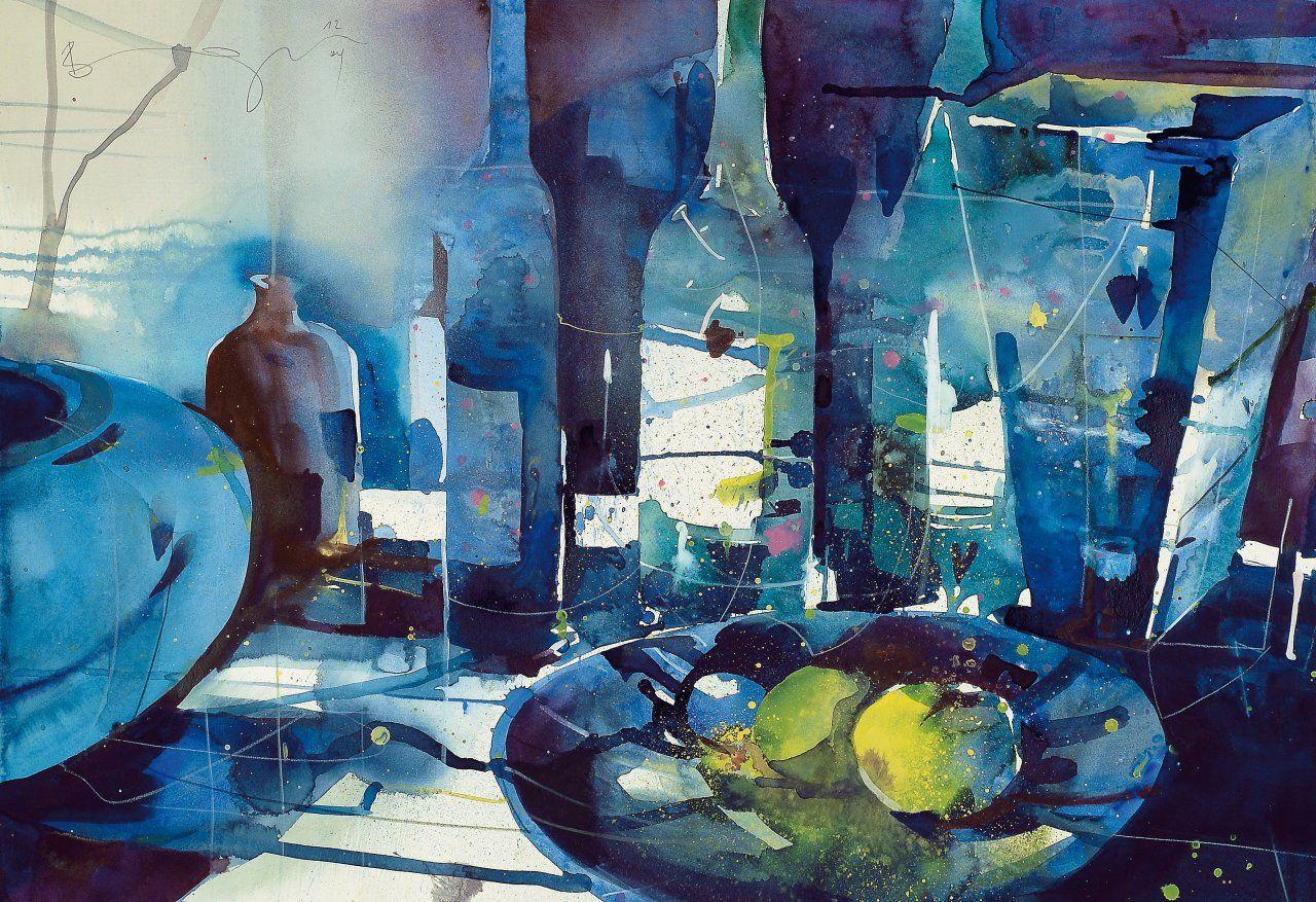 Bernhard Vogel Blaues Flaschenstillleben Blue Bottlestilllife