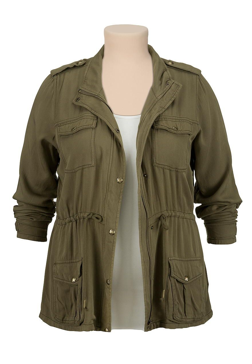 lightweight military plus size anorak jacket | fashion inspiration