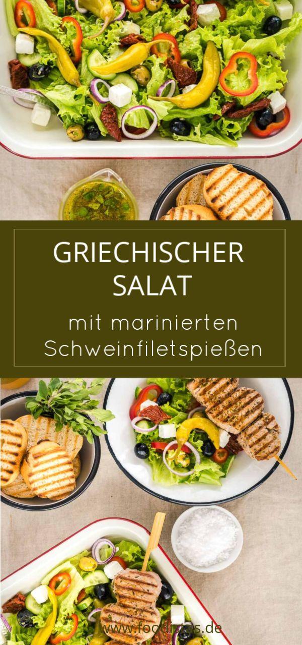 Griechischer Salat mit Schweinfiletspießen