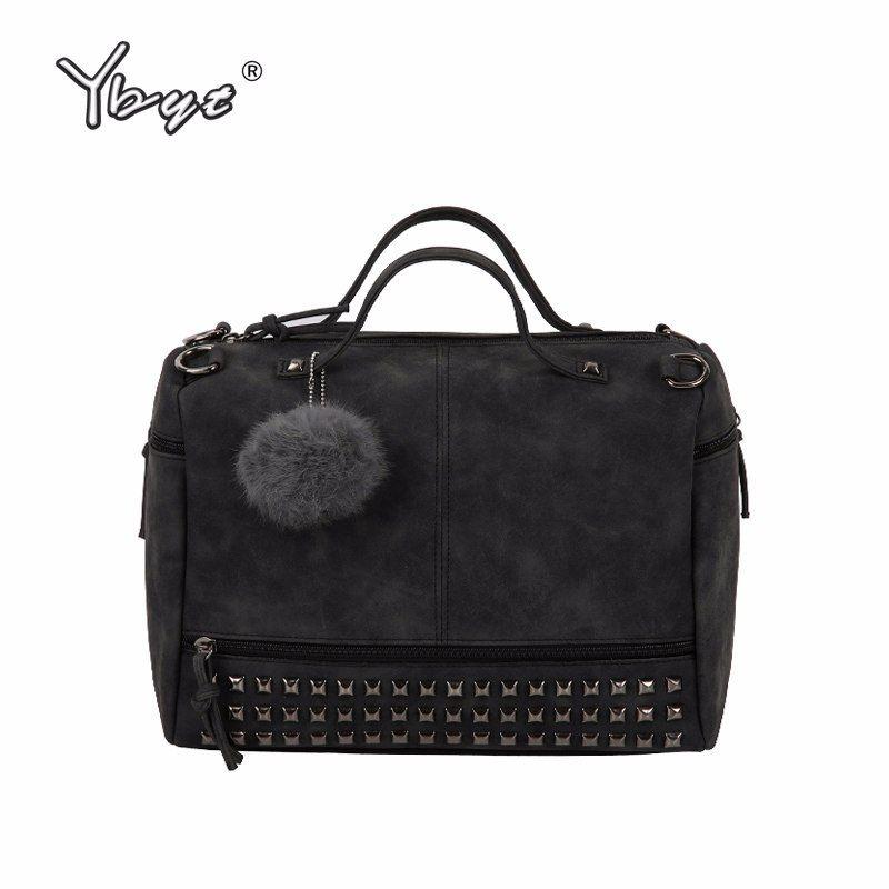 28de8f22f588 YBYT brand 2018 new fashion casual women handbag hotsale ladies large  capacity solid rivet bag shoulder messenger crossbody bags