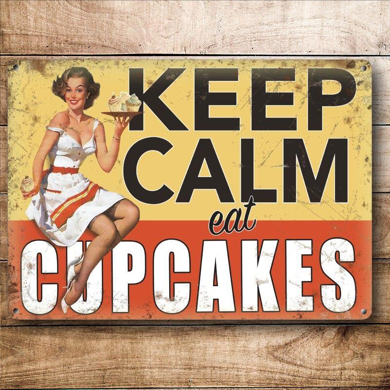 Metalowa Tabliczka Retro 30 X 40 Cm Keep Calm Eat Cupcakes Lady Really Cool Stuff Retro Keep Calm