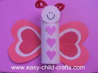 Butterfly made from paper roll and heart shapes. I may make these for my baby's bday. She loves butterflies!