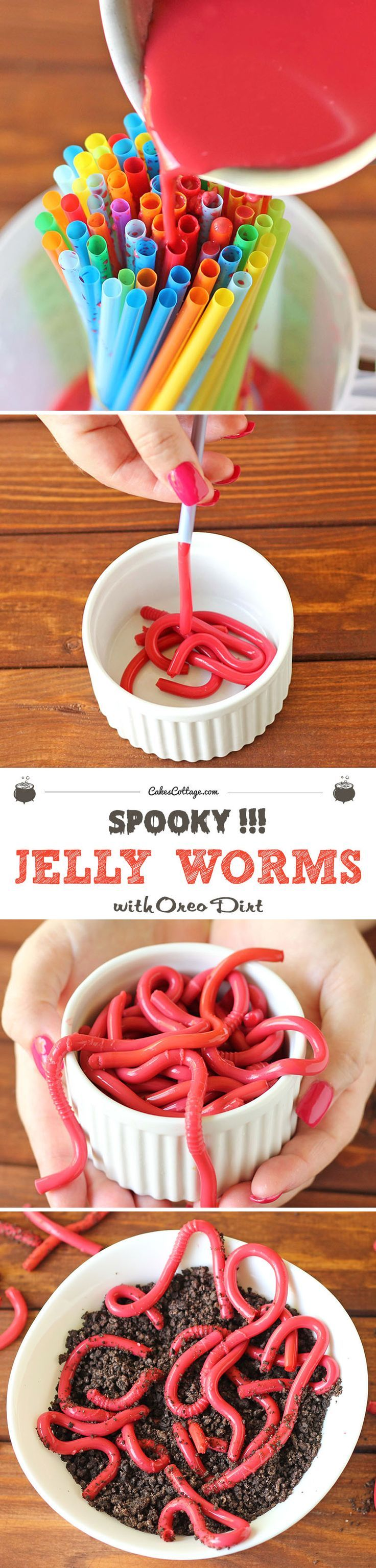 Jelly Worms with Oreo Dirt | Recipe | Jelly worms, Halloween ...