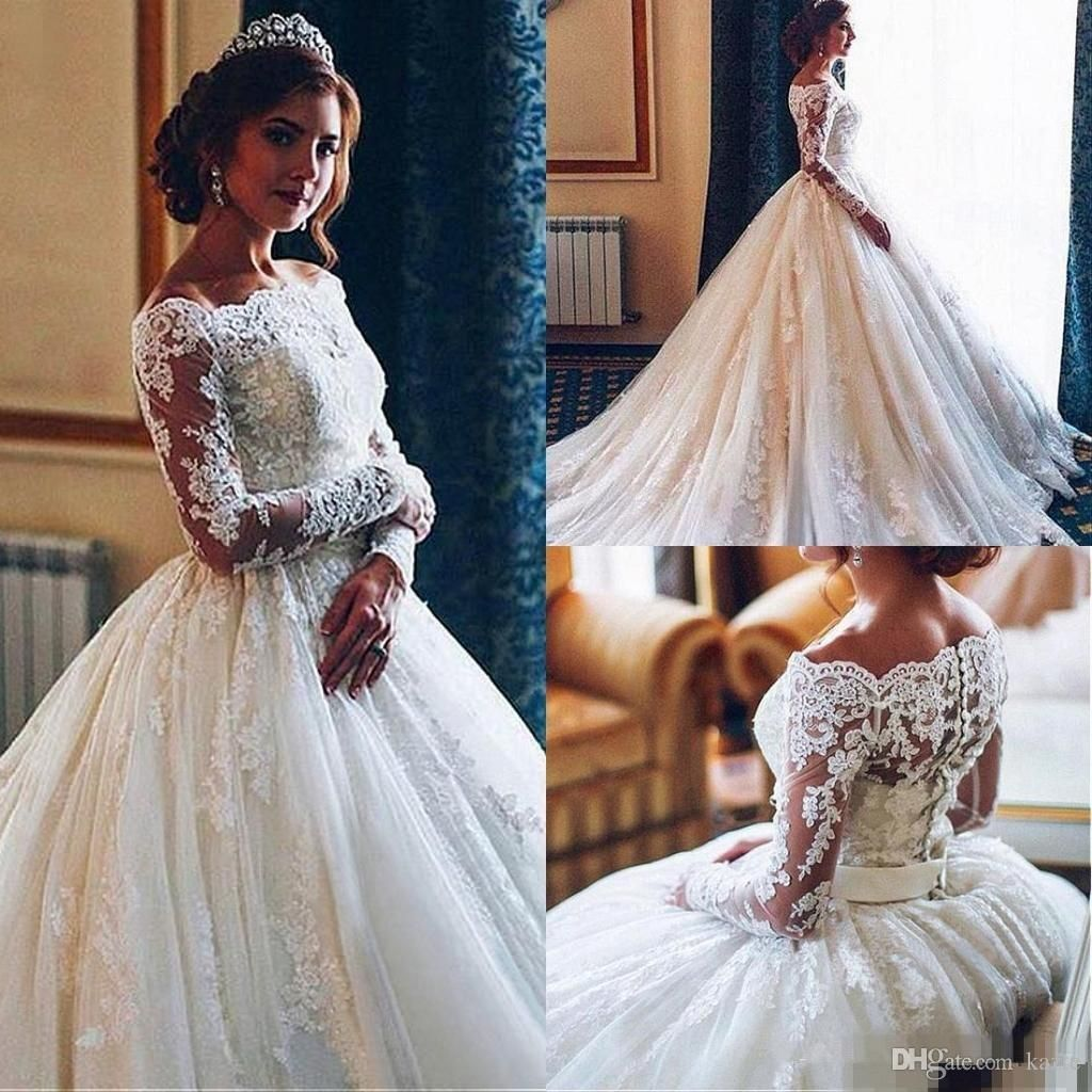 Discount Charming Lace Long Sleeves Wedding Dresses 2018 Off Shoulder Applique Arabic Dubai Style Bridal Gowns With Covered Buttons Plus Size Ball Gowns Debenha Long Sleeve Wedding Dress Lace White Long