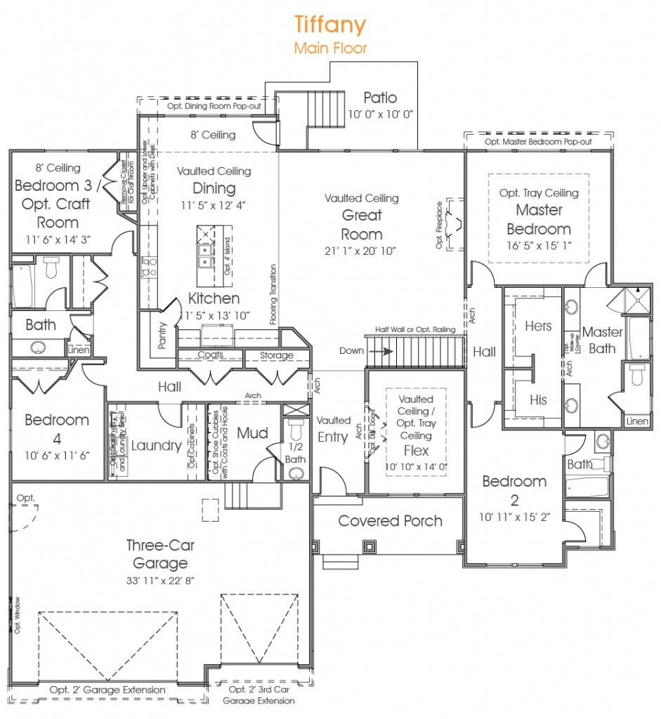 Tiffany Basement House Plans Rambler House Plans How To Plan