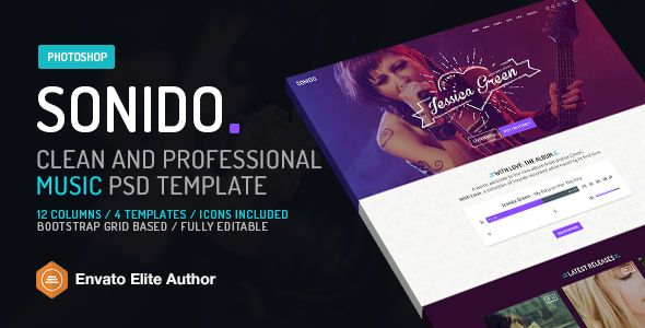 SONIDO Music PSD website template for djs and singers - it manual templates to download