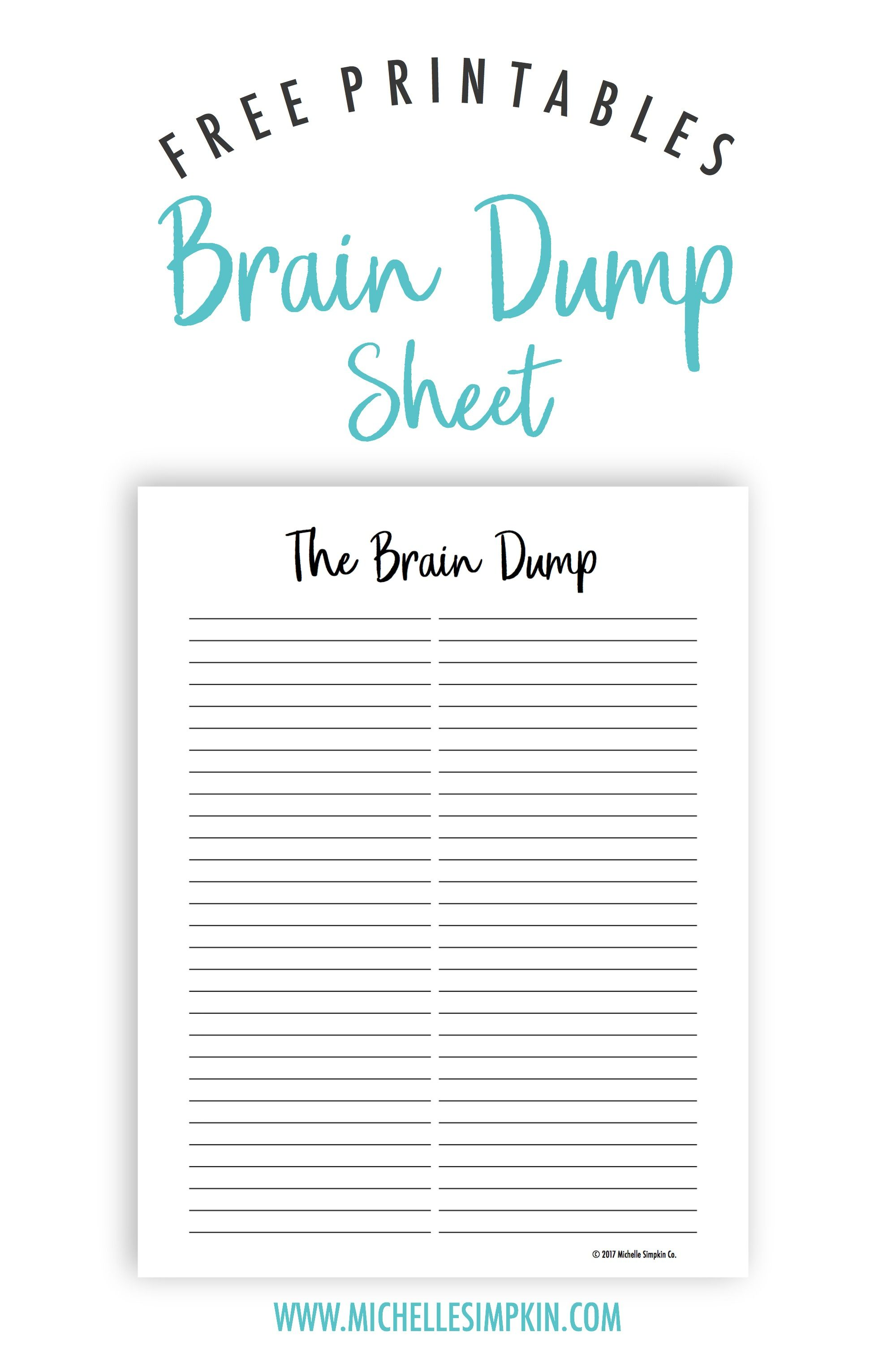 Striking image for brain dump printable