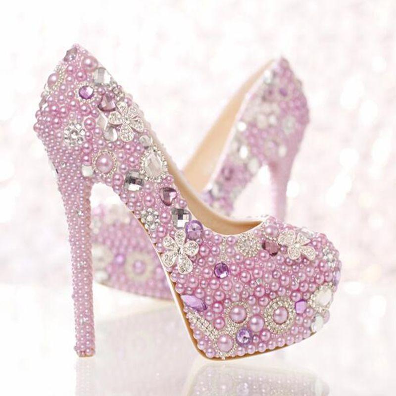 c0e080016 Barato Romântico Roxo de Cristal Pérola Sapatos de Noiva Sapatos De Salto  Alto com Impermeável Taiwan 14 cm roxo Sapatos de Casamento Sapatas de  Vestido das ...