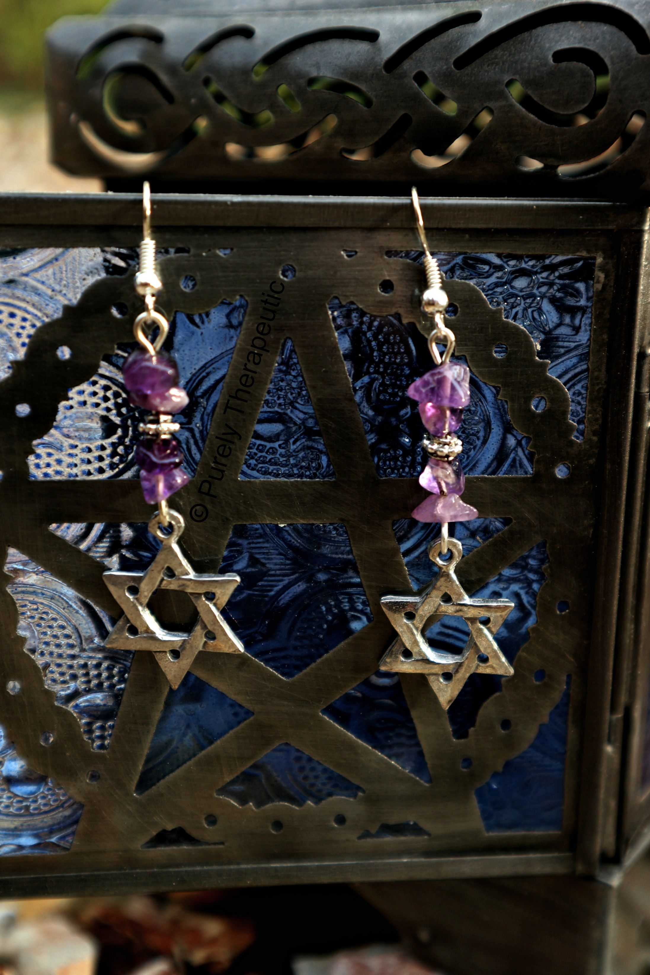 Star of david amethyst gemstone earrings handmade by purely star of david amethyst gemstone earrings handmade by purely therapeutic the star of david is an ancient and traditional magical symbol of spirit that biocorpaavc Choice Image