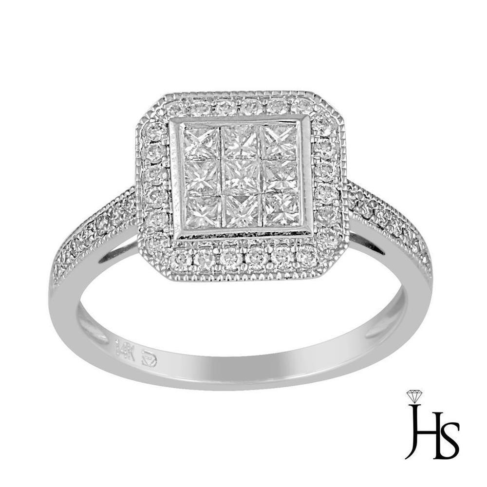 14K White Gold 0.50 CT H - I & SI2 38 Round & Princess Cut Diamond Fashion Ring #WomensFancyFashionRingJHS