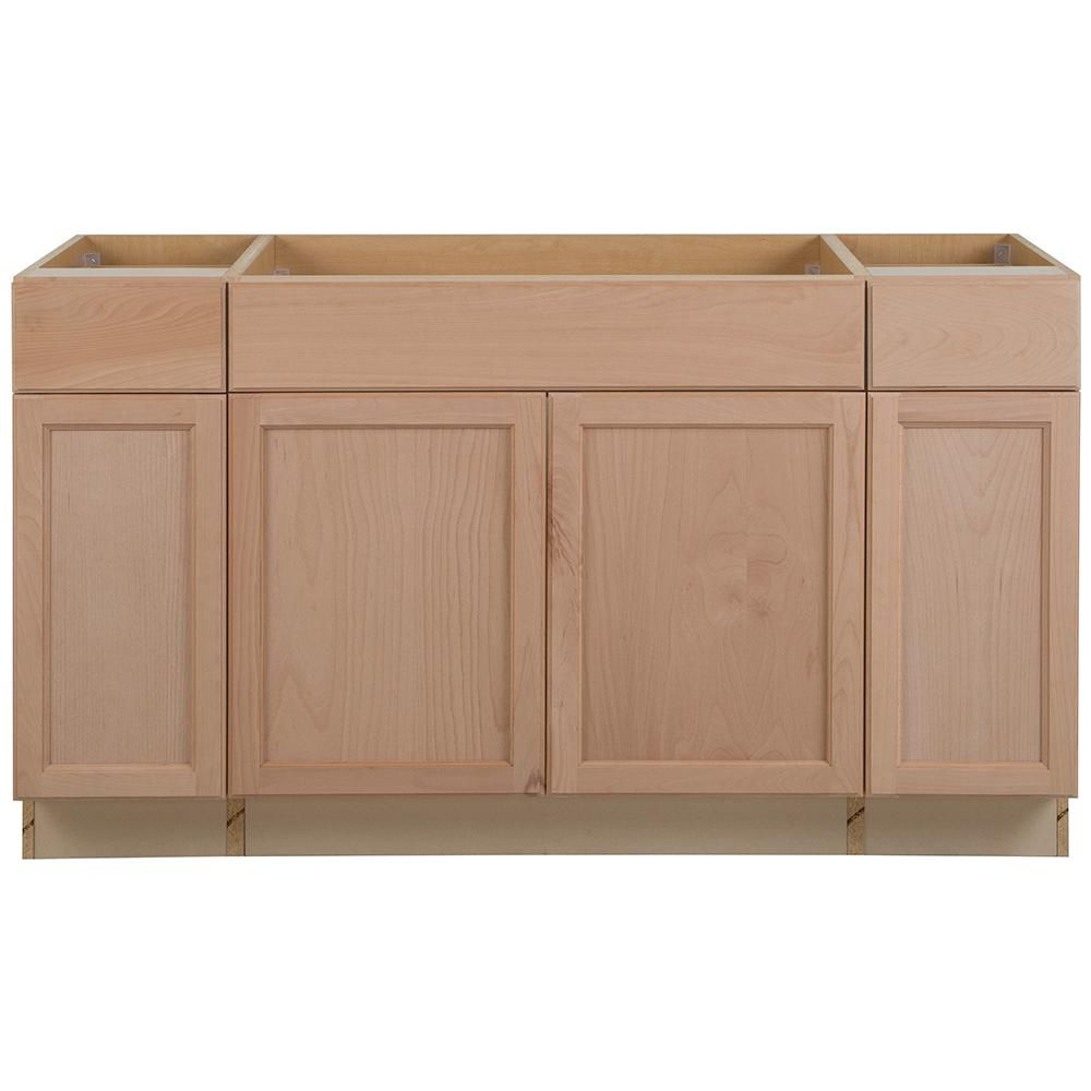 Assembled 60x34 5x24 In Easthaven Sink Base Cabinet With 2 Drawers In Unfinished German Beech Eh6035s Gb The Base Cabinets Home Depot Cabinets Sink Cabinet