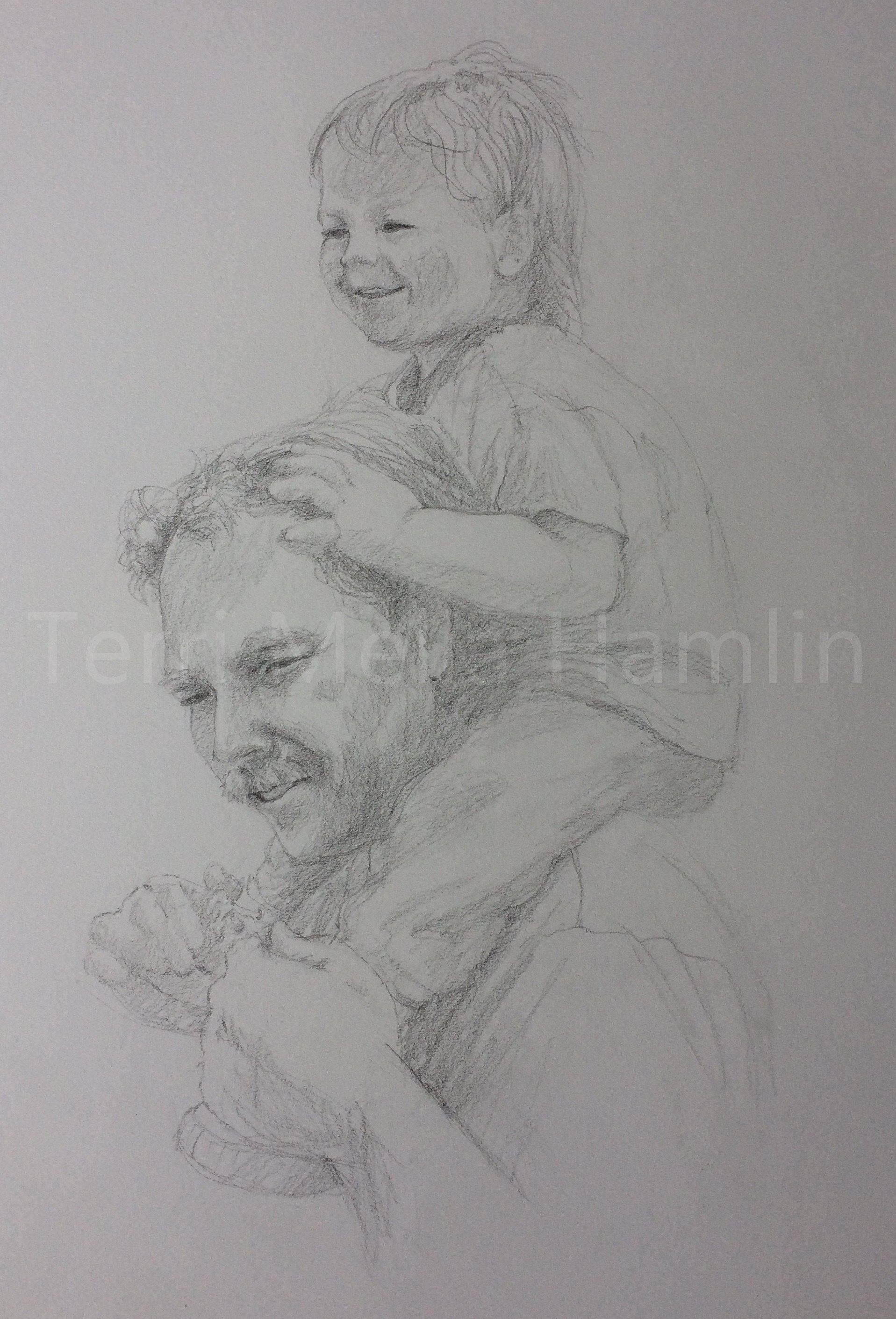 Custom portrait drawing of father and son hand drawn with graphite pencil on white fine art paper