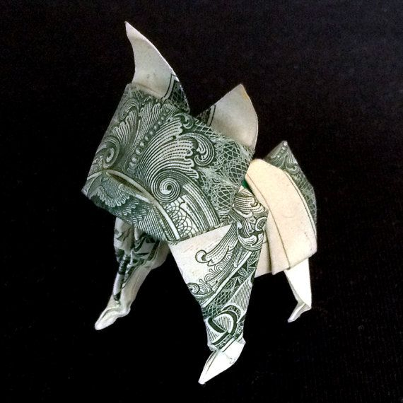 Dollar Bill Origami French Bulldog Statue 3d Puppy Sculpture