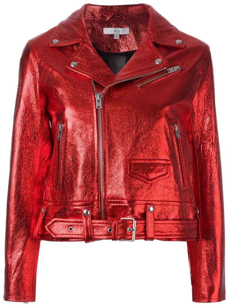 Iro Chaqueta Biker Metalizada. Chaqueta biker metalizada en piel de cordero  roja de Iro. Talla  36. Color  Rojo. Sexo  Mujer. 339c7e3221b3